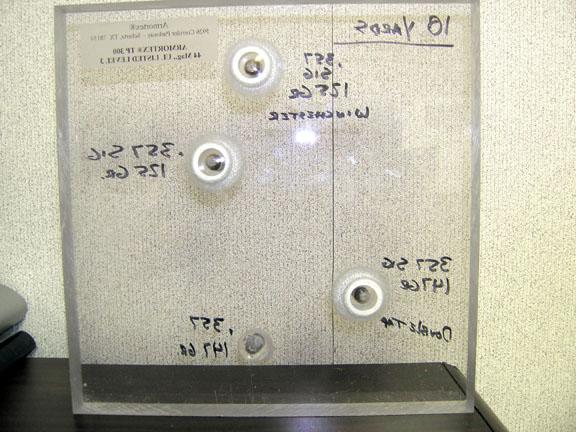 Ballistic Glass Tests - 9mm +P+, 357 Sig, 40 SW, 45 ACP-357sigdownrangeside_sm.jpg