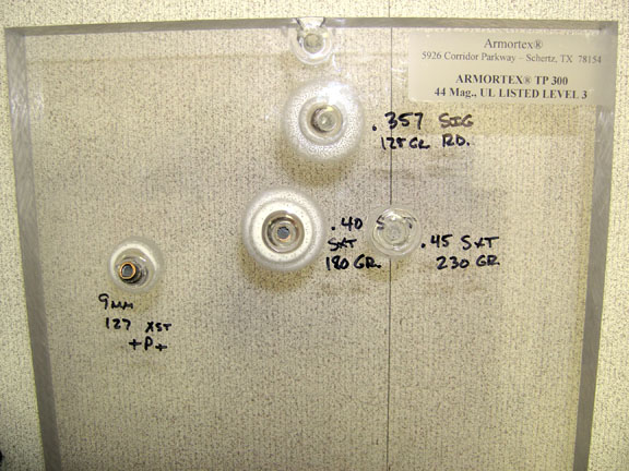 Ballistic Glass Tests - 9mm +P+, 357 Sig, 40 SW, 45 ACP