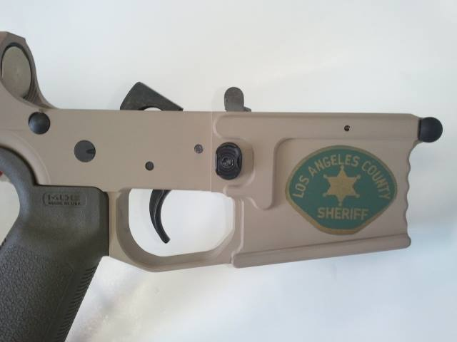 DuraCoat: Lower AR Receiver in Woodland Tan with Military and Law Enforcement logos-customar15-2-.jpg