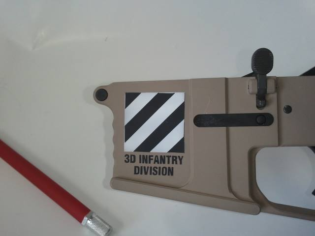 DuraCoat: Lower AR Receiver in Woodland Tan with Military and Law Enforcement logos-customar15.jpg