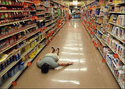 On the PA system: 'Cleanup on aisle 25; we have a husband down.'-down.jpg