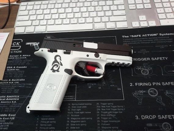 DuraCoat Work: Black and White FNS9mm with Penguin on Frame-fns9mm-frame-barrel-stensil-black-white-penguin.jpg