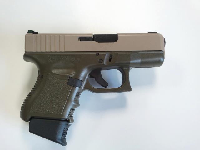 DuraCoat: Glock 27 Gen 3 - woodland tan slide, OD green frame, black oxide barrel!-g27gen3-bitone-woodlandtan-odgreen-blackoxide.jpg