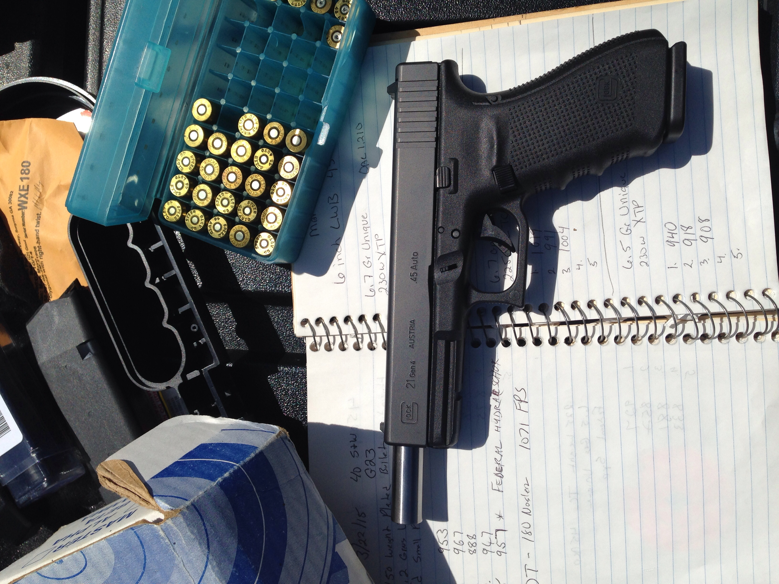 The Glock 21 with 6 inch barrel load tests