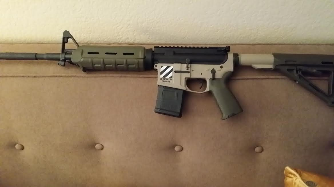 DuraCoat: Lower AR Receiver in Woodland Tan with Military and Law Enforcement logos-newmanar15-2-.jpg
