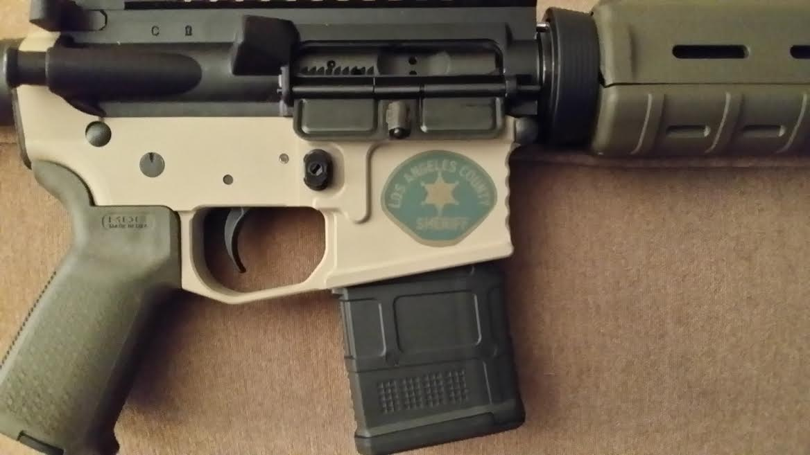DuraCoat: Lower AR Receiver in Woodland Tan with Military and Law Enforcement logos-newmanar15-3-.jpg