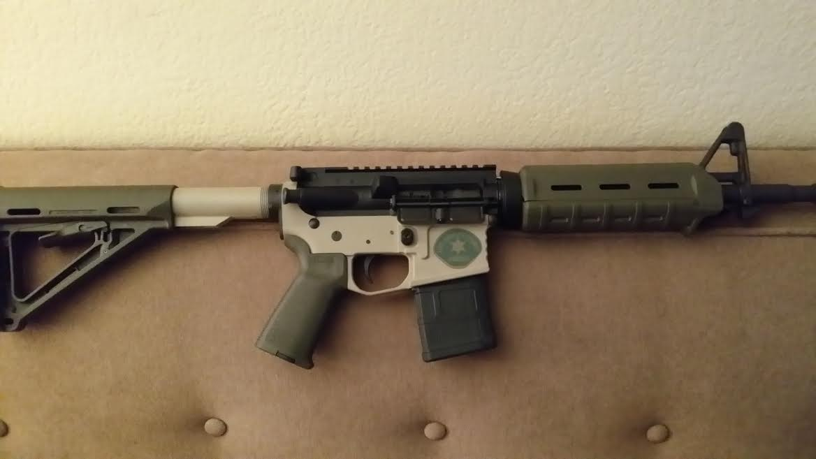 DuraCoat: Lower AR Receiver in Woodland Tan with Military and Law Enforcement logos-newmanar15.jpg