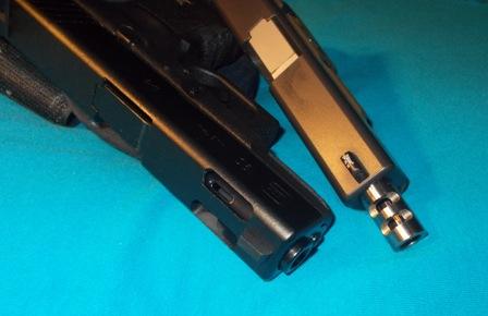 Glock 19 again. 9mm is easy to shoot thread. Ugh.